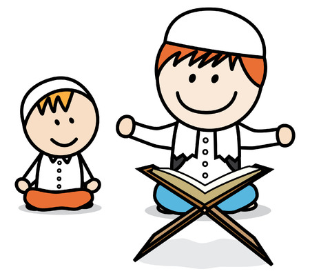 kid vector: Musulmana Recitar Corán