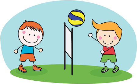 volley ball: kids playing volley ball