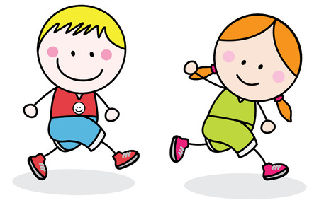 physical education: Kids jogging