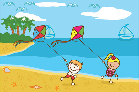 little girl beach: Happy kids playing kite at Beach Illustration