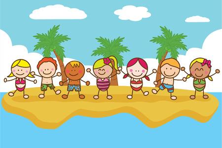Felici bambini giocare in spiaggia
