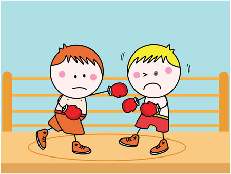 education cartoon: Boxing kids