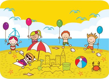 Vector children: Chúc mừng những đứa trẻ chơi bóng tại bãi biển Hình minh hoạ