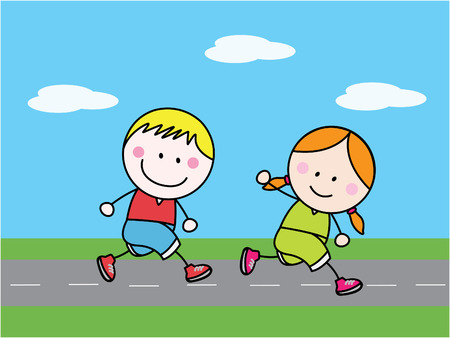 jogging: Boy and girl jogging
