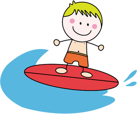young men: Surfer boy Illustration