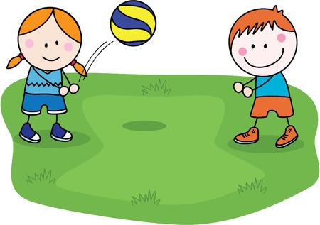 pelota de voley: Ni�os de voleibol Vectores