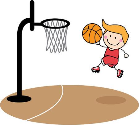niñas jugando: Baloncesto niño Vectores