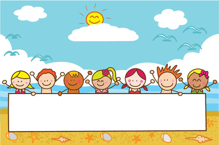 summer fun: kids holding banner at beach when summer Illustration