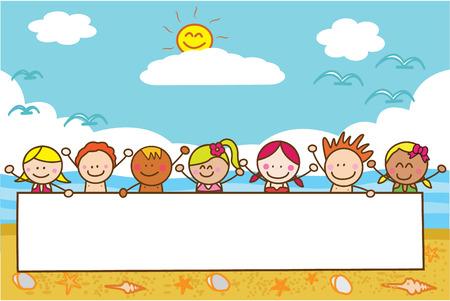 banner infantil: niños que sostienen la bandera en la playa cuando el verano