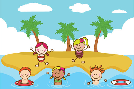happy kids cartoon: Happy kids playing and swimming at Beach
