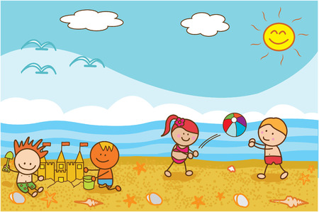 sand castle: Happy kids playing ball and sand castle at Beach Illustration