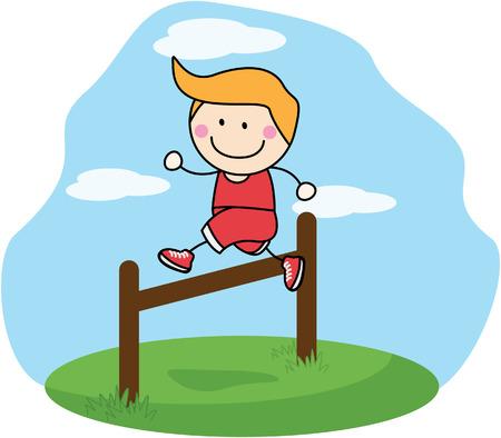 hurdle: Boy jumping sport Illustration
