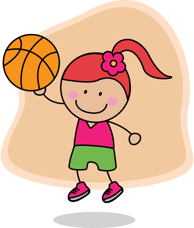 baloncesto chica: Baloncesto Chica Vectores