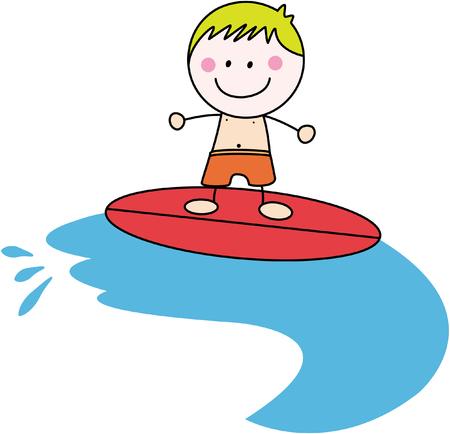 surfer vector: Surfer boy Illustration