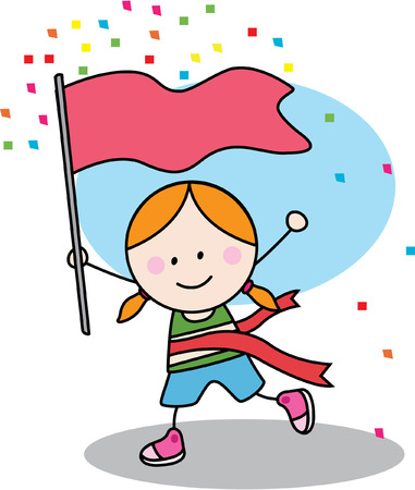 vector girl: Running girl with winner flag