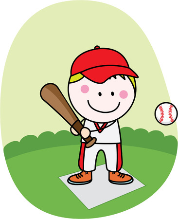 little league: Baseball player boy Illustration