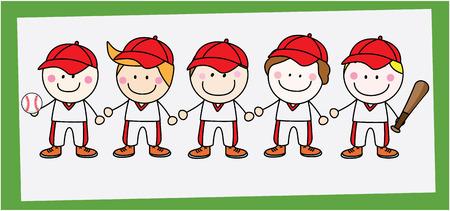 little league: Baseball player team Illustration