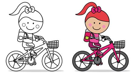 bicicleta vector: Biker niña