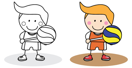 crayons: Boy playing basket ball Illustration
