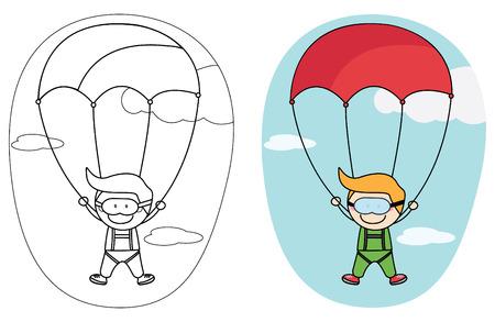 crayon: Kids parachute boy