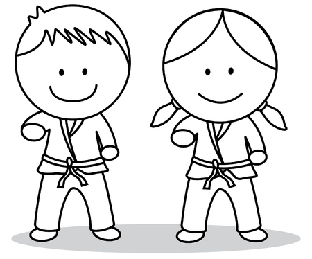 little girl feet: Karate kids Illustration
