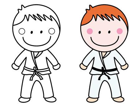 Karate Página Para Colorear Niño Ilustraciones Vectoriales, Clip Art ...