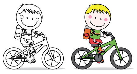 biking: Biker boy Illustration
