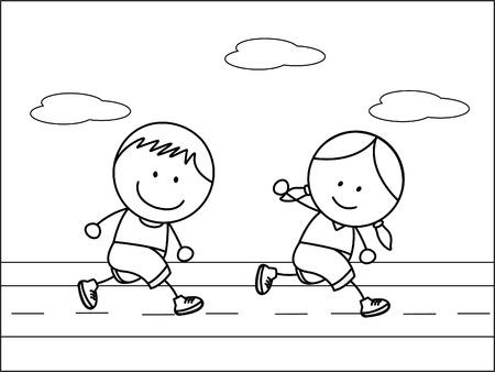 Garçon et fille de jogging Banque d'images - 45057491