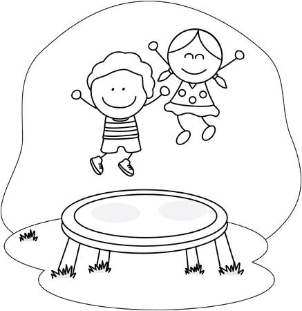 trampoline: kids playing trampoline