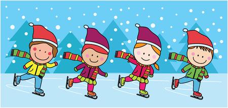 winter girl: Ice skating kids