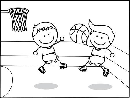 Vector children: cậu bé bóng rổ
