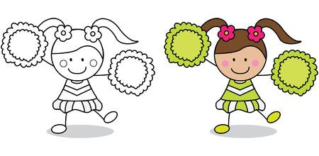 porrista: Página chica animadora para colorear Vectores
