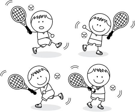 black boys: Boys playing badminton Illustration