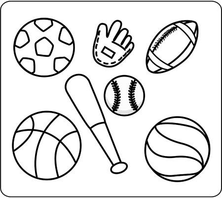 lijntekening: Sport uitrusting