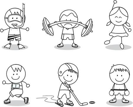 Vector children: Kids thể thao