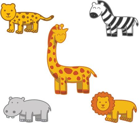 safari animal: Animal safari cartoon doodle illustration Illustration