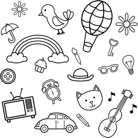 lamp vector: Black and white doodle