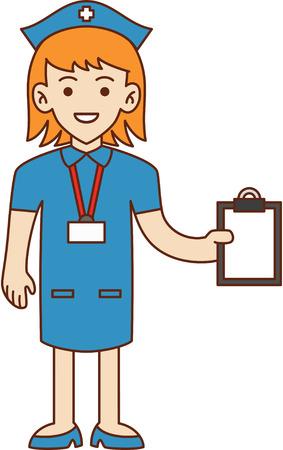 nurse clipboard: Nurse doodle cartoon illustration