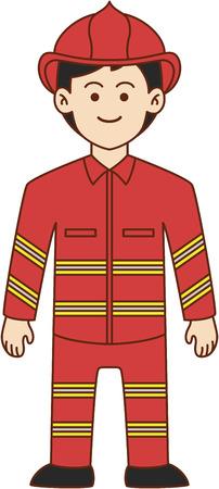 fighters: Firefighter doodle cartoon illustration Illustration
