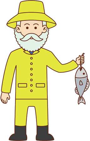fisher: Fisher man cartoon design illustration