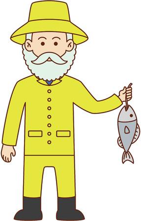 fisher man: Fisher man cartoon design illustration