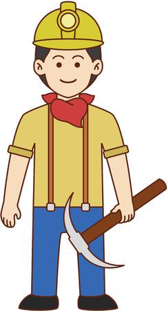 the miner: Miner doodle cartoon design illustration