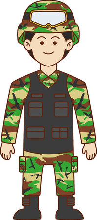 military beret: Army doodle cartoon design illustration