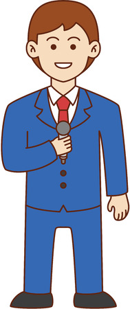newscast: Newscaster doodle cartoon design illustration Illustration