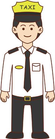 chofer: El conductor del taxi, ilustración, diseño de dibujos animados del doodle