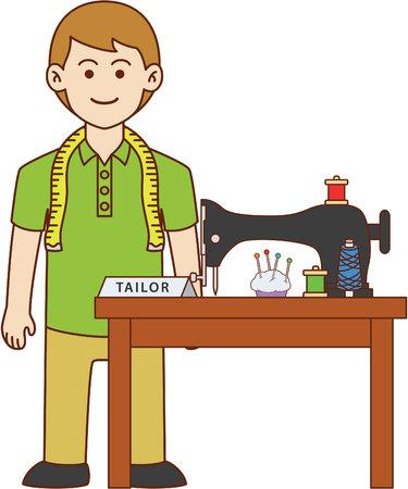 machine man: Tailor doodle cartoon design illustration Illustration