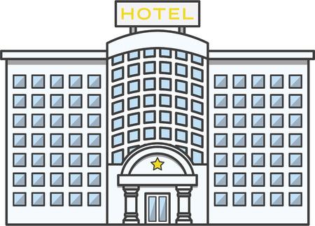 albergo: edificio Doodle illustrazione dei cartoni animati Vettoriali