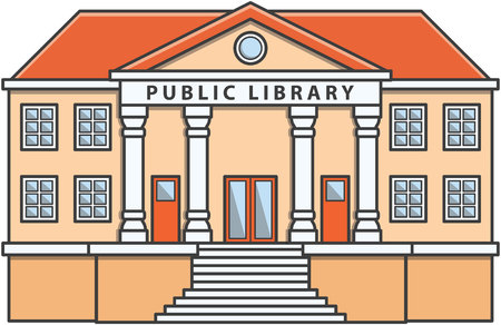 biblioteca: biblioteca pública ilustraciones de dibujos animados Doodle