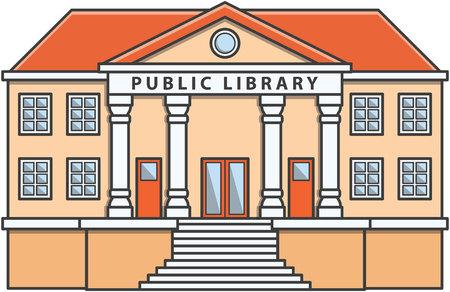 Ffentliche Bibliothek Doodle Illustration cartoon Standard-Bild - 48600258