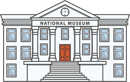 art museum: Museum Building Doodle Illustration cartoon